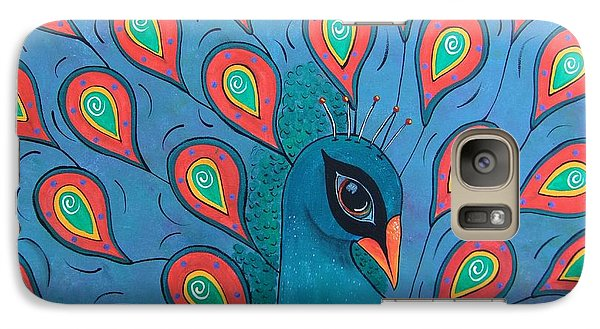 Galaxy Case featuring the painting Peacock Promenade by Cindy Micklos