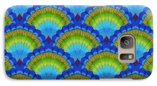 Peacock Galaxy S7 Case - Peacock Scallop Feathers by Kimberly McSparran