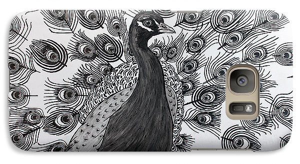 Galaxy Case featuring the drawing Peacock Walk by Megan Dirsa-DuBois