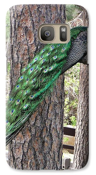 Galaxy Case featuring the photograph Peacock Watches The World by Diane Alexander