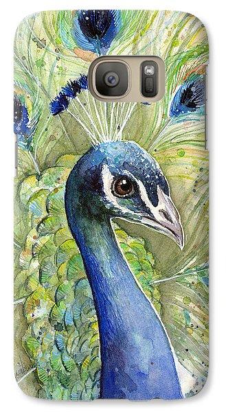 Peacock Galaxy S7 Case - Peacock Watercolor Portrait by Olga Shvartsur