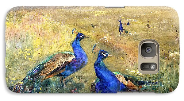 Peacocks In A Field Galaxy S7 Case by Mildred Anne Butler