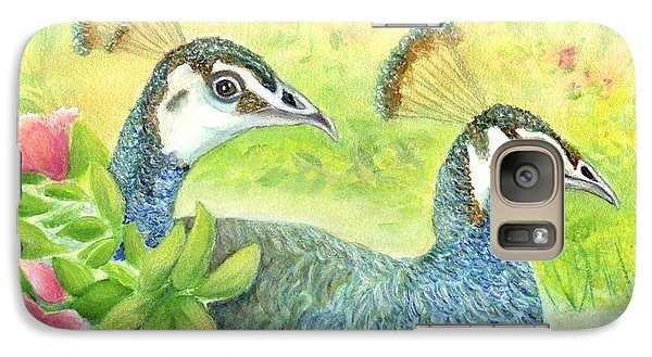 Galaxy Case featuring the painting Peahens Strolling In The Garden by Jeanne Kay Juhos