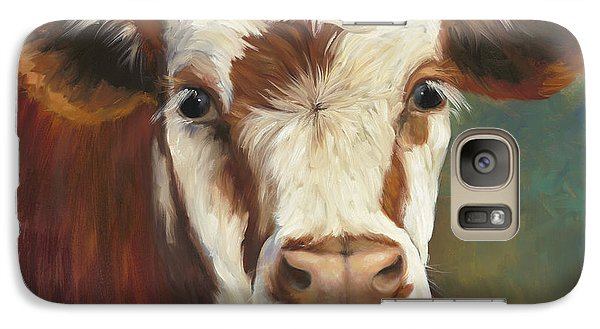 Cow Galaxy S7 Case - Pearl Iv Cow Painting by Cheri Wollenberg