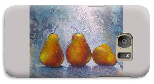 Galaxy Case featuring the painting Pears On Blue Original Acrylic Painting by Chris Hobel