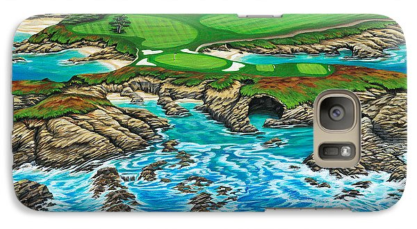 Galaxy Case featuring the painting Pebble Beach 15th Hole-north by Jane Girardot