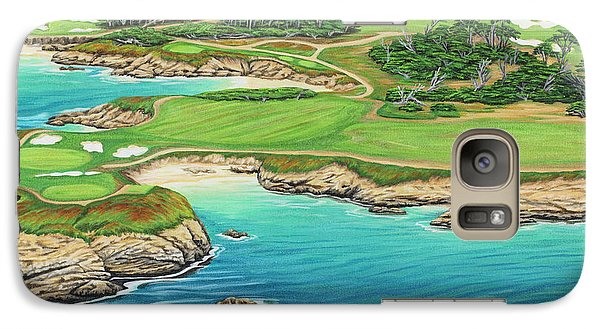 Galaxy Case featuring the painting Pebble Beach 15th Hole-south by Jane Girardot