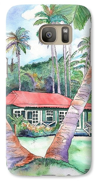 Galaxy Case featuring the painting Peeking Between The Palm Trees 2 by Marionette Taboniar