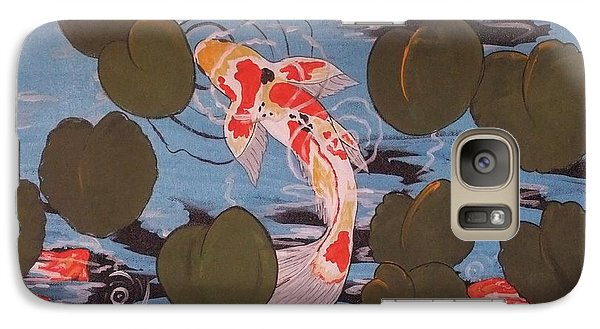 Galaxy Case featuring the painting Peeking Koi by Cindy Micklos