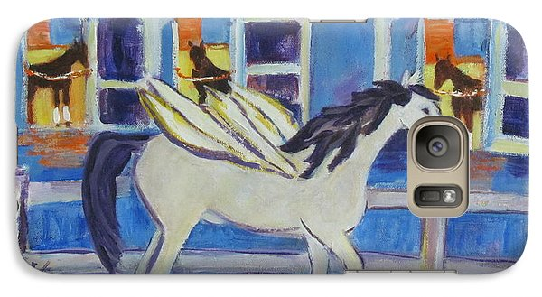 Galaxy Case featuring the painting Pegasus At Race Track by Betty Pieper