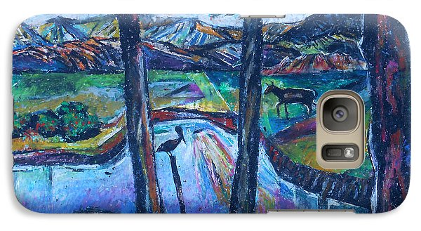 Galaxy Case featuring the painting Pelican And Moose In Landscape by Stan Esson
