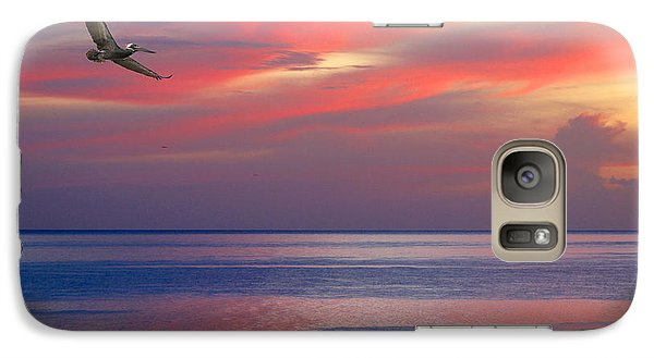 Galaxy Case featuring the photograph Pelican At Sunset by Mariarosa Rockefeller