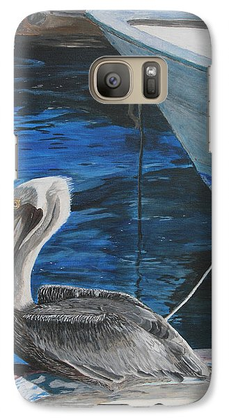 Galaxy Case featuring the painting Pelican On A Boat by Ian Donley