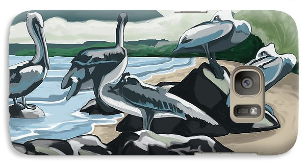 Galaxy Case featuring the painting Pelicans And Friends At Seashore by Tim Gilliland