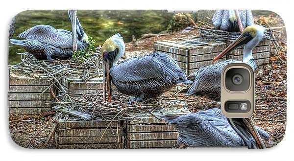 Galaxy Case featuring the photograph Pelicans By The Dock by Donald Williams