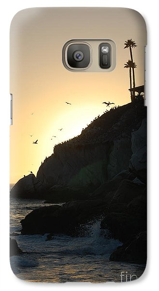 Galaxy Case featuring the photograph Pelicans Gliding At Sunset by Debra Thompson