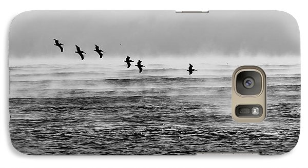 Galaxy Case featuring the photograph Pelicans In The Mist by Lynda Dawson-Youngclaus