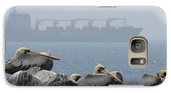 Galaxy Case featuring the photograph Pelicans In The Mist by Ramona Johnston