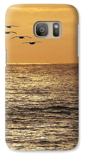 Galaxy Case featuring the photograph Pelicans Ocean And Sunsetting by Tom Janca