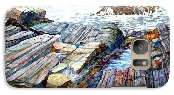 Galaxy Case featuring the painting Pemaquid Rocks by Roger Rockefeller