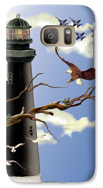 Galaxy Case featuring the painting Pensacola Light House Tower by Anne Beverley-Stamps