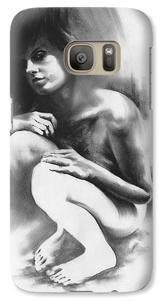 Galaxy Case featuring the drawing Pensive by Paul Davenport