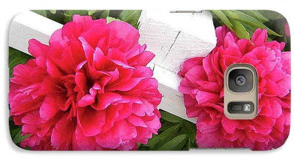 Galaxy Case featuring the photograph Peonies Resting On White Fence by Barbara Griffin