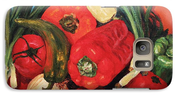Galaxy Case featuring the painting Peppers by Cheryl Del Toro