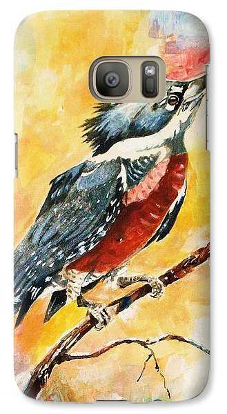 Galaxy Case featuring the painting Perched Kingfisher by Al Brown