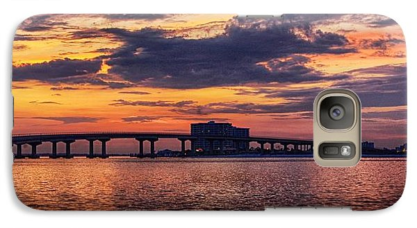 Galaxy Case featuring the digital art Perdido Bridge Sunrise by Michael Thomas