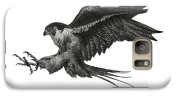 Peregrine Hawk Or Falcon Black And White With Pen And Ink Drawing Galaxy S7 Case