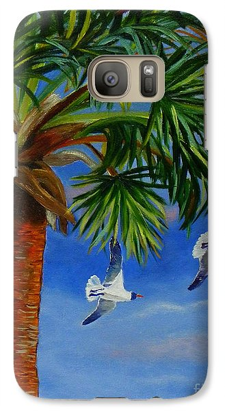 Galaxy Case featuring the painting Perfect Flight  Palm Tree And Seagulls by Shelia Kempf