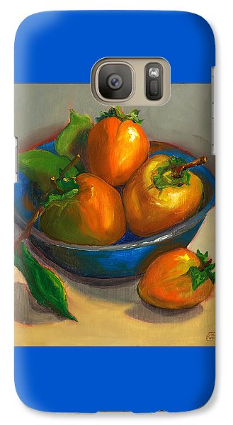 Galaxy Case featuring the painting Persimmons In Blue Bowl by Susan Thomas