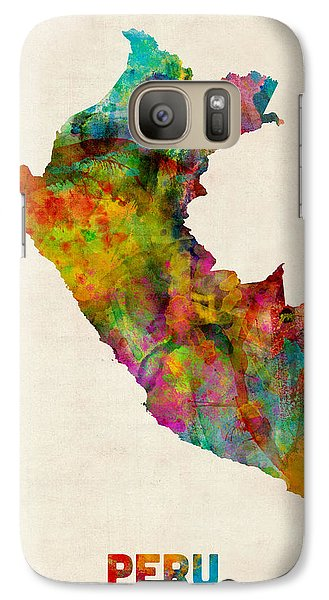 Peru Watercolor Map Galaxy Case by Michael Tompsett