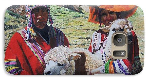 Galaxy Case featuring the mixed media Peruvians by Constance Drescher