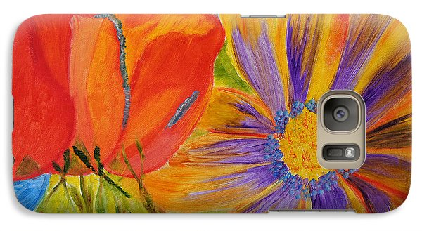 Galaxy Case featuring the painting Petals Up Close by Meryl Goudey