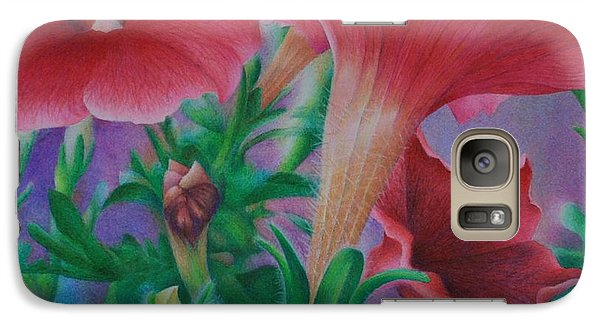Galaxy Case featuring the painting Petunia Skies by Pamela Clements