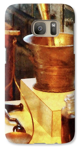 Galaxy Case featuring the photograph Pharmacist - Brass Mortar And Pestle by Susan Savad