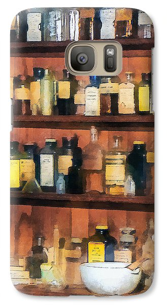 Galaxy Case featuring the photograph Pharmacist - Mortar Pestles And Medicine Bottles by Susan Savad