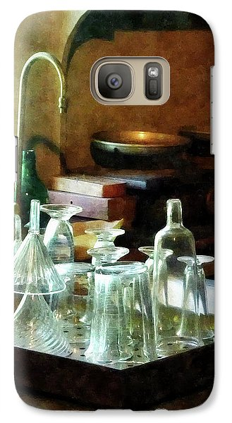 Galaxy Case featuring the photograph Pharmacy - Glass Funnels And Bottles by Susan Savad