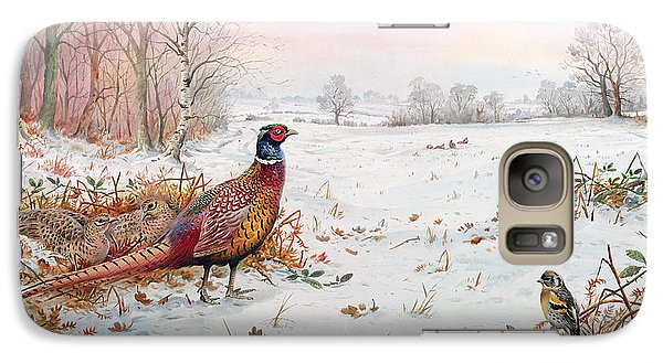 Pheasant And Bramblefinch In The Snow Galaxy Case by Carl Donner
