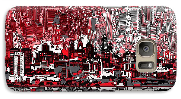 Philadelphia Skyline Galaxy S7 Case - Philadelphia Skyline Abstract 4 by Bekim Art
