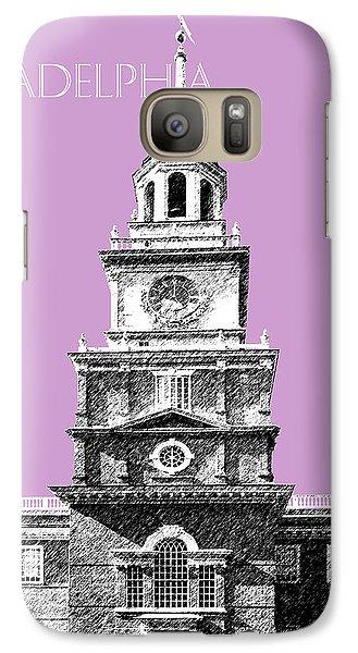 Philadelphia Skyline Independence Hall - Light Plum Galaxy S7 Case by DB Artist