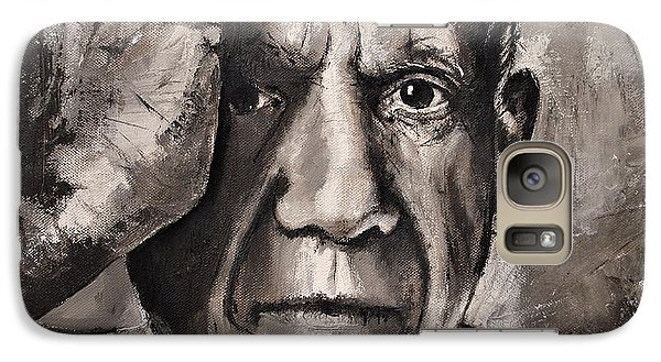 Galaxy Case featuring the painting  Portrait Of Pablo Picasso by Maja Sokolowska