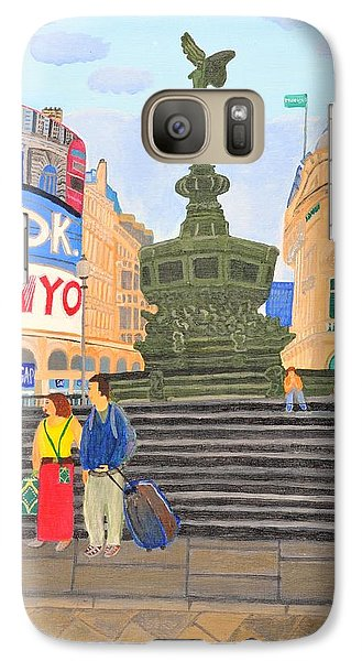 Galaxy Case featuring the painting London- Piccadilly Circus by Magdalena Frohnsdorff