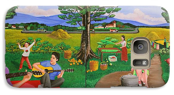 Galaxy Case featuring the painting Picnic With The Farmers And Playing Melodies Under The Shade Of Trees by Lorna Maza