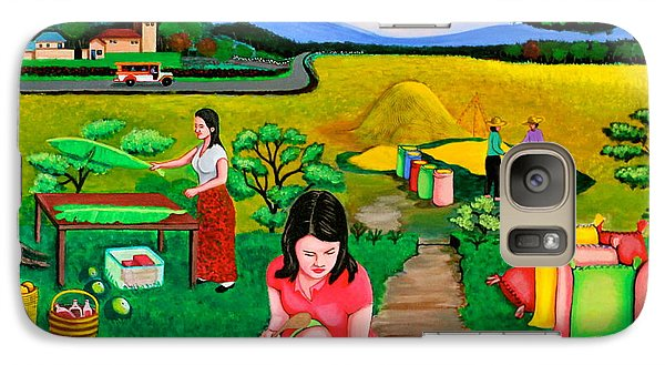 Galaxy Case featuring the painting Picnic With The Farmers by Lorna Maza