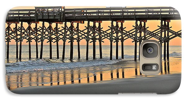 Galaxy Case featuring the photograph Pier At Sunset by Eve Spring