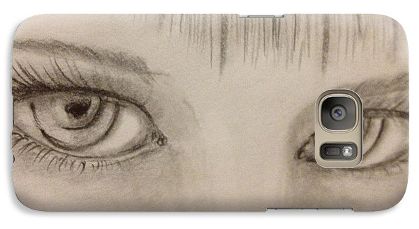Galaxy Case featuring the drawing Piercing Eyes by Bozena Zajaczkowska