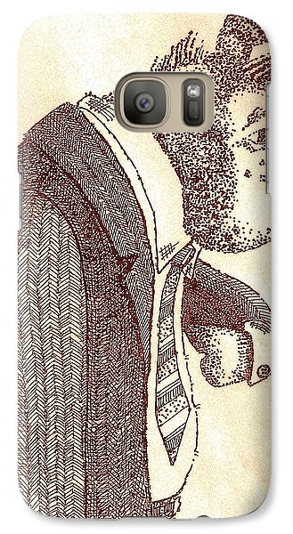 Galaxy Case featuring the drawing Pig In Suit by Larry Campbell